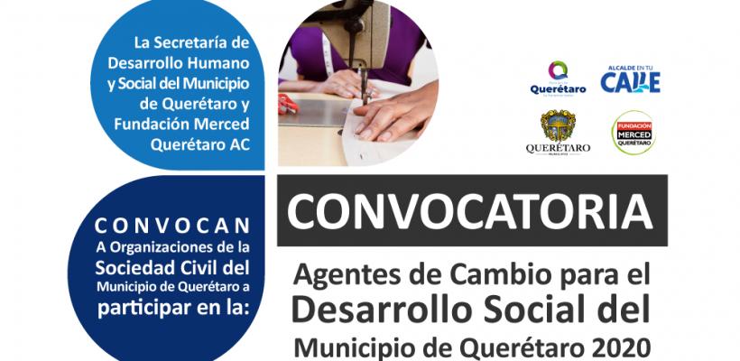 Convocatoria Agentes de Cambio para el Desarrollo Social del Municipio de Querétaro 2020
